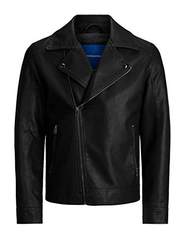 Jack & Jones JORNOLAN Biker Jacket PS Chaqueta de Cuero sintético, Negro, XXXXL para Hombre
