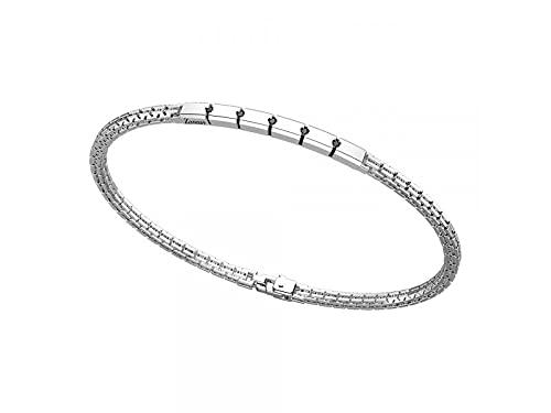 Zancan ESB 155 - Pulsera para hombre de plata con placa y espinelas negras