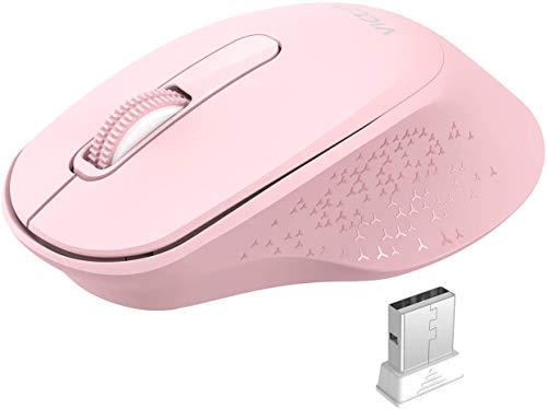 VicTsing Ratón Inalámbrico Silencioso, Mini Portátil 2.4G con Receptor, Ergonómico, 1600 dpi, Compatible con PC, Tableta, Computadora Portátil - Rosa