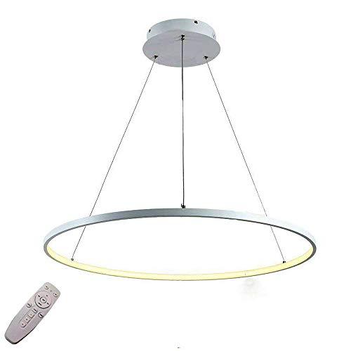 38W Lámparas LED Regulable Control remoto Lámpara de suspensión Anillo redondo Aluminio blanco Oficina Lámpara colgante de techo Altura ajustable Salón comedor Lámpara colgante,φ60CM