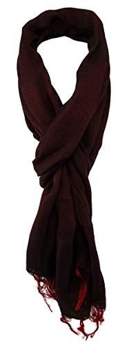 TigerTie Designer sjaal in rood, donkerrood, wijnrood, eenkleurig met franjes, maat 180 x 50 cm.