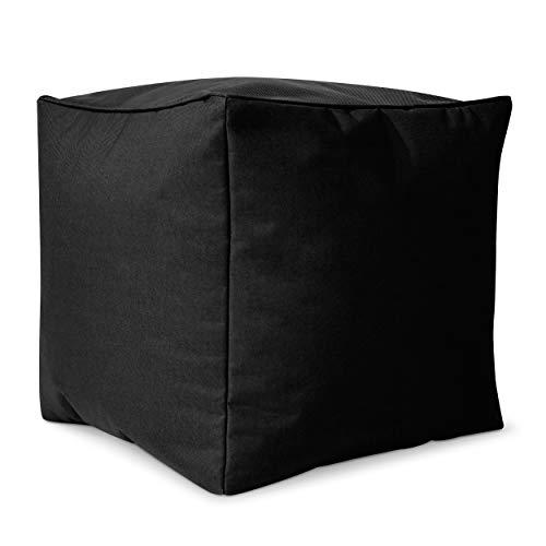 Green Bean © Cube Sitzsack Hocker 40x40x40 cm, Erweiterung & Addon für Cozy Gaming Beanbag, Sitzhocker, Fußhocker für Sitzsäcke, Fußkissen & Stütze, Fußablage für Kinder und Erwachsene, Schwarz