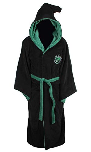 Groovy-Slytherin-Harry-Potter-Hooded-Bathrobe-Polyester-Black-One-Size