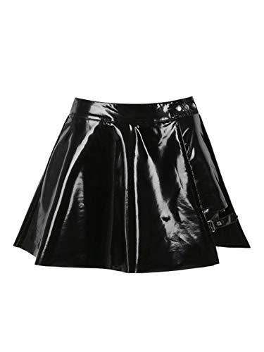TiaoBug Damen Wetlook Rock Minirock PU Leder Faltenrock mit Reisverschluss Sexy Sommer Röckchen Dessous Gogo Outfits Clubwear Hochglanz XL