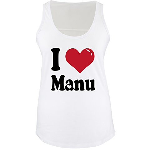 Comedy Shirts - I LOVE MANU - Damen Tank Top - Weiss/Schwarz-Rot Gr. M