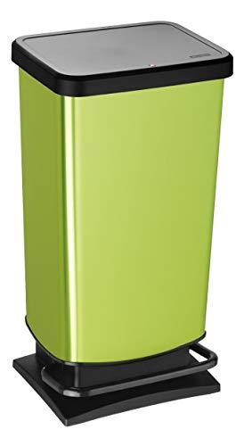 Rotho Paso Mülleimer 40l mit Deckel, Kunststoff (PP) BPA-frei, grün metallic, 40l (35,3 x 29,5 x 67,6 cm)