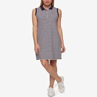 Tommy Hilfiger Striped Polo Dress Navy Stripe L