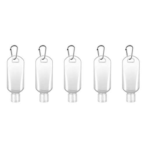 CJMING 5Pcs Botella De Viaje Portátil, Botellas De Almacenamiento De Loción Botellas De Viaje Vacías De Desinfectante De Manos De Plástico Transparente, con Gancho De Color Aleatorio