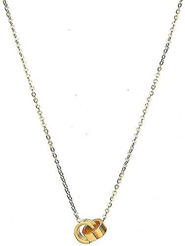 Collar Cadena de clavícula de acero inoxidable dorado Anillo doble simple Novia Enviar joyería perfecta Regalo Collar de niño para niñas