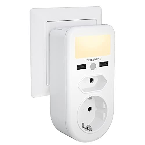 Detector de movimiento toma de luz nocturna, useber 2 piezas, 3 modos (automático/encendido/apagado), luz nocturna LED de ahorro de energía de 0,5 W, dormitorio, habitación de niños, pasillo,