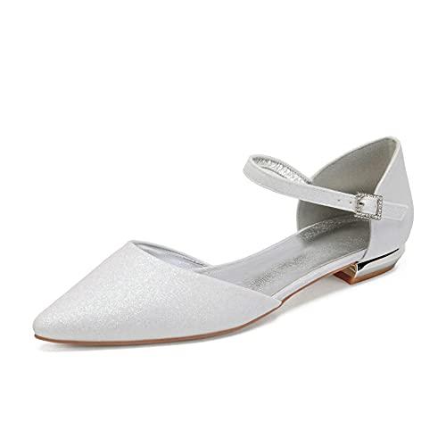 MGEM Damen Ballerinas Sommer Abendkleid Brautschuhe Knöchelriemen Spitze Flache Schuhe,Elfenbein,42 EU thumbnail