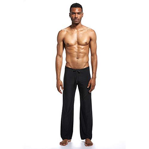 Silverdrew Pantalones caseros para Hombres Ropa de Yoga Pantalones Tela de Seda de Hielo Hogar Sexy