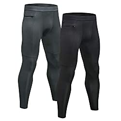 Large capacity zipper pocket. Smooth breathable comfort fitting,coming with 2 pack men compression pants.We suggest buying one size smaller than the size chart provided Highly elastic fabric with 85% polyester and 15% spandex. Non-allergenic,slim & t...