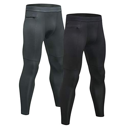 Niksa Sport Leggings männer 2er pack,laufhose Tight lange unterhose Quick Dry kompression Hose für Fitness Gym Joggen Gr. S-XXL (L, Black Gray(1070)*2)