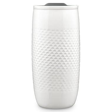 Ello Mesa Double Wall BPA-Free Ceramic Travel Mug with Lid, Grey, 14 oz