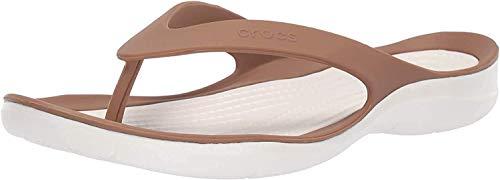 Crocs Swiftwater Flip W, Zapatos de Playa y Piscina para Mujer, Marrón (Bronze/Oyster 81f), 36/37 EU