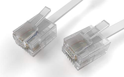 DabbersIT Premium kwaliteit lange lengte ADSL kabel (RJ11) 5m / 10m / 15m / 20m met vergulde contacten, voor Modem / Router / High Speed Internet Breedband om verbinding te maken met telefoon Socket of Micro Filter / Internet Kabel 20m