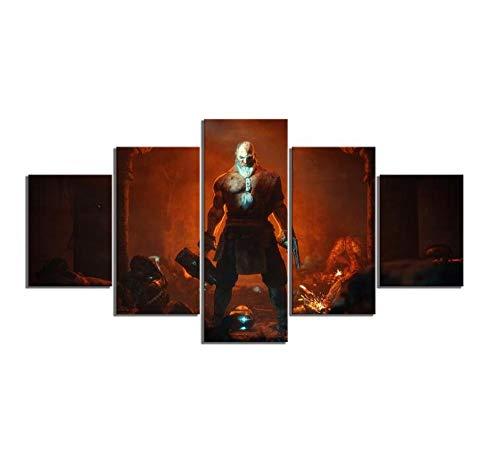 Canvas afdrukken Trekkers 5 stuks fantasie kunst spel poster Hd afdrukken muurkunst decoratie canvas schilderijen (A) Kein Rahmen