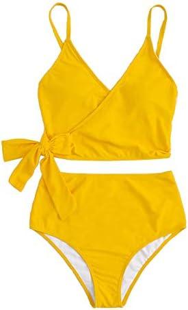 SweatyRocks Women s Two Pieces Swimsuit Tie Side Top Swimwear High Waisted Bikini Set Yellow product image