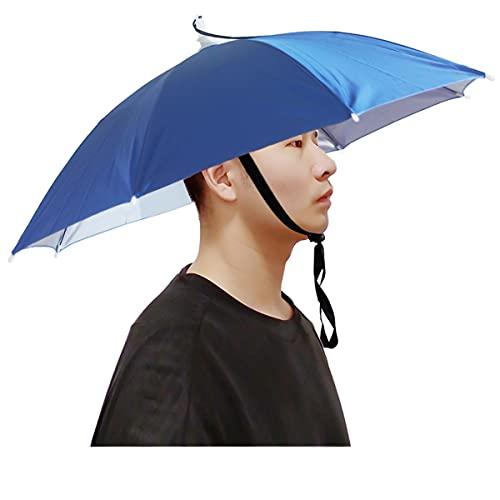 Qukipet Umbrella Hat, 25 inch Fishing Umbrella Cap for Adults and Kids, Hands Free Umbrella Elastic Folding Compact UV&Rain Protection Headwear for Fishing Golf Gardening Outdoor-Blue