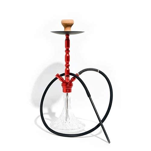 4 Mangueras Hookah Shisha 65cm Sheesha Narghile Hookah Set con Hookah Bowl Manguera de Cuero Pinzas para carbón Vástago de Aluminio