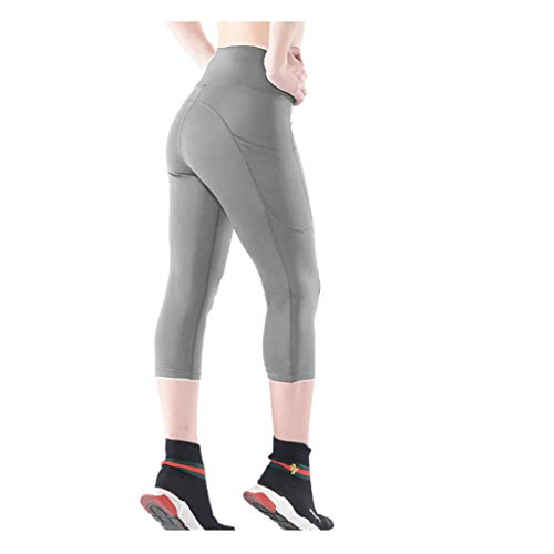 Aberimy Damen Sport Leggings Sporthose 3/4 Training mit Taschen Hohe Taille Mehrfarbig Kompressions Yoga Sporttight Fitnesshose Leggins Streetwear Workout Gym Jogging Yogahose Tights Hose