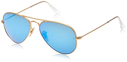 Ray-Ban RB3025 Aviator Occhiali da Sole Unisex Adulto, Gold Blue Mirror, 55 mm