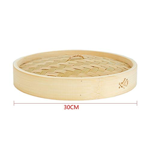 30 cm Bambus Dampfgarer Chinesische Küchenutensilien Gemüse Snack Gebäck Dampftopf Cover Holzfarbe