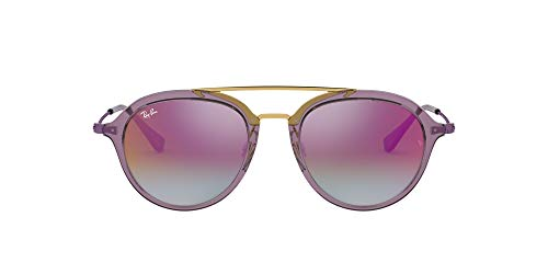 Ray-Ban Junior Unisex-Child RJ9065S Sunglasses, Transparent Violet/Violet Gradient Mirror, 48 mm