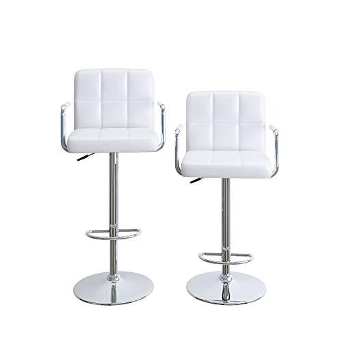 Homfa Sgabello da bar, sgabello alto con braccioli, schienale e poggiapiedi, sgabello da bar girevole regolabile (Bianco)