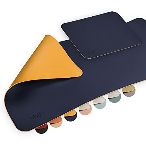 sølmo I Design Schreibtischunterlage 85x40cm mit Extra Mauspad PU Leder Abwischbar, Schreibtisch Unterlage Groß, Büro Tischunterlage, Mousepad XXL, Schreibtischmatte (Blau / Gelb)