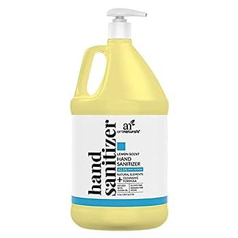 Artnaturals Lemon Scent Hand Sanitizer Gel Alcohol Based (1 Gallon x 128 Fl Oz / 3785ml) Infused with Jojoba Oil, Aloe Vera Gel & Vitamin E