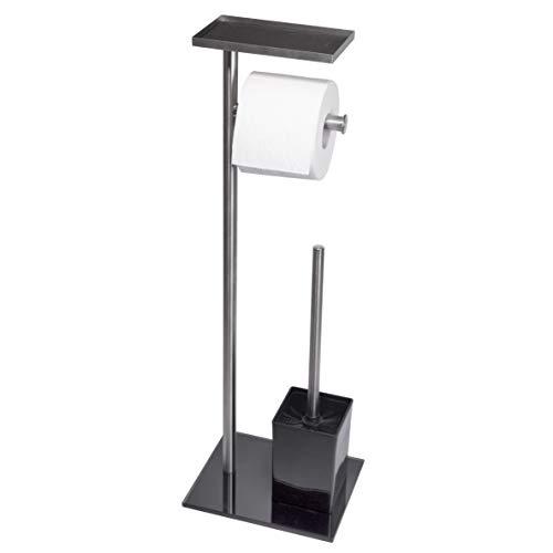 PROVIO, Toilettenpapierhalter ohne bohren, freistehend, inkl. Klobürste, aus Edelstahl, mit Ablage, WC Garnitur Set, schwarz, Stand Badezimmer Accessoire HxBxT: 67x22x18cm