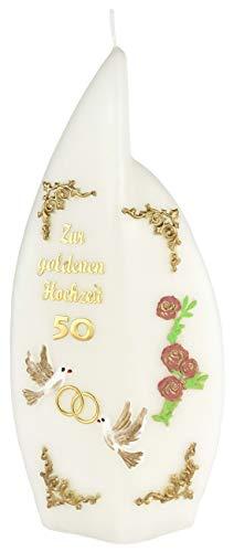 netsells handversierde kaars gouden bruiloft * vlam * met gekleurde wax lagen * 24,5 x 11 x 3,5 cm (motief #001)