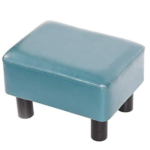 GCE Reposapiés pequeño Reposapiés Reposapiés Otomano Puf Asiento Rectangular Acolchado Silla con Patas de Madera de Cuero PU (Azul Turquesa)