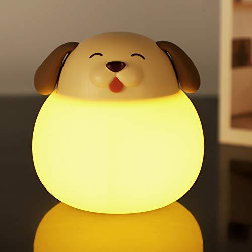 Opard Nachtlicht Kind, Baby Nachtlampe mit Touch Schalter,1h Timer Farbtemperatur 1800-6500K Touch Lampe, LED Nachtleuchte für Babyzimmer, Schlafzimmer, Wohnräume, Camping, Picknick (Braun-Hund)