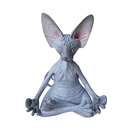 Sanbing Personalidad sphynx gato meditar estatua lindo gato sin pelo yoga sentado figura coleccionable para decoración de escritorio de la habitación lindo