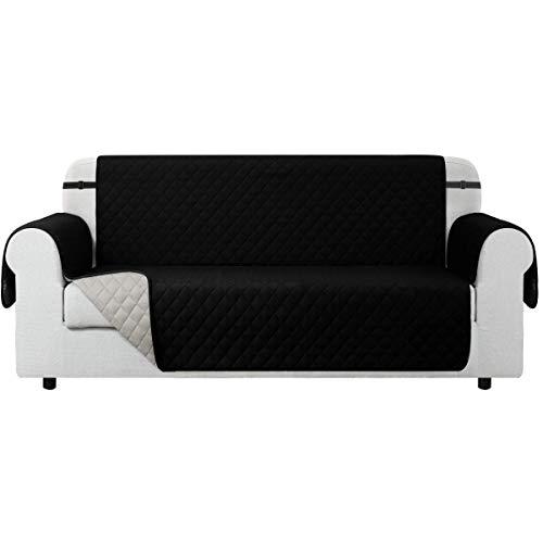 CHUN YI Sofabezüge Gesteppte Reversible Sofa Schutz Abdeckung, Sofaüberwurf mit Gummiband, Wasserdicht Anti-Rutsch Sofaschoner Micro-Stoff-Pet-Sofa-Cover (3-sitzer, Schwarz)