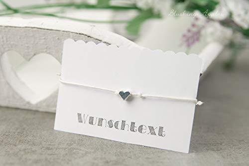 Armband Herz - Silber - Hochzeit, JGA, Team Bride - diverse Farben, Wunschtext