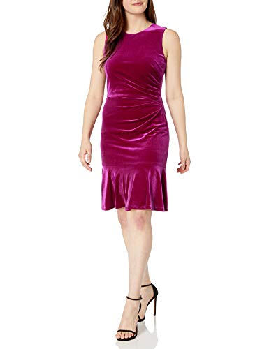 Eliza J Women's Sleeveless Velvert Sheath with Flounce Hem Casual Dress, Fuchsia, 10