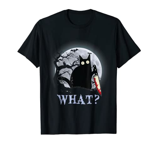 Disfraz halloween gato-negro asesino crimen divertido Camiseta