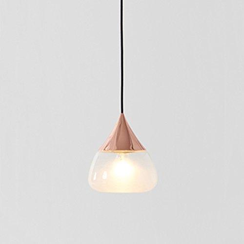 MEGSYL Nordic eenvoudige roestvrijstalen kroonluchter, postmoderne stijl transparant glas enkel hoofd kroonluchter, creatieve themarestaurant slaapkamerdeken lamp, een garderobe stijlvolle moderne eenvoudige hanglamp, rode brons (E27 9W)