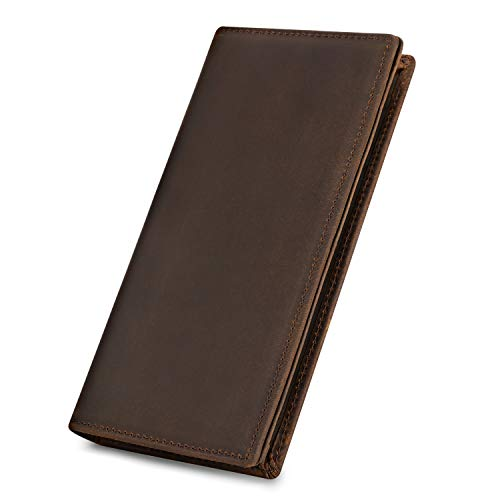 Kattee Men's Vintage Genuine Leather Long Wallet for Checkbook, Credit Cards (Large, Dark Brown)