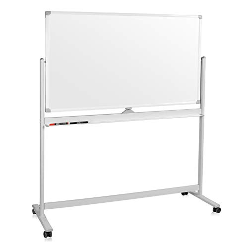 Mobile Whiteboard, Double Sided Dry Erase Board Aluminum Frame, Rolling Stand White Board & Accessories with 4 Markers, 1 Eraser, 12 Push Stickers (60x36)
