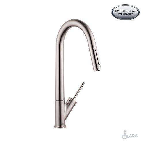 AXOR Starck Luxury 1-Handle 18-inch Tall Stainless Steel Kitchen Faucet with Pull Down Sprayer with...