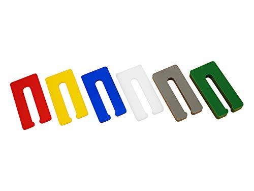 My Plast 300 Stück Abstandhalter Trockenbau (je 50 Stk. 1mm, 2mm, 3mm, 4mm, 6mm, 8mm) Distanzstück Ausgleichsplättchen, Rot, Gelb, Blau, Weiß, Grau, Grün