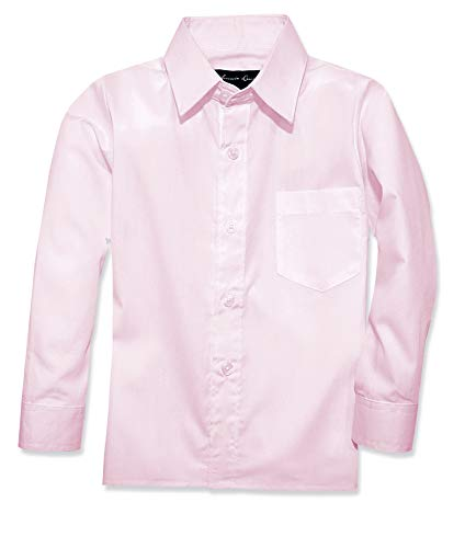 Johnnie Lene Boy's Long Sleeves Dress Shirt from Baby to Teen JJL32 (2T, Pink)