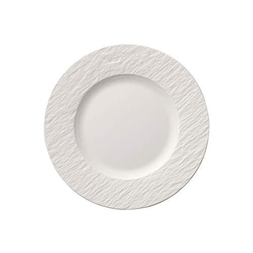 Villeroy & Boch - Manufacture Rock Lot de 6 assiettes à petit-déjeuner en porcelaine de qualité supérieure Blanc 22 cm