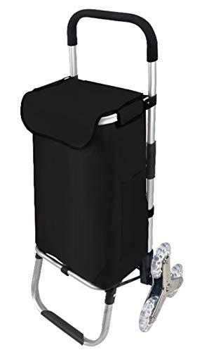 Hmwxbs Multifunktionaler Klappwagen für Treppensteigen, Faltbarer Einkaufswagen, 40-Liter supermarkt-Einkaufstasche mit Großer Kapazität, 8 Zoll 6 Rad für Den Einkauf von Lebensmitteln