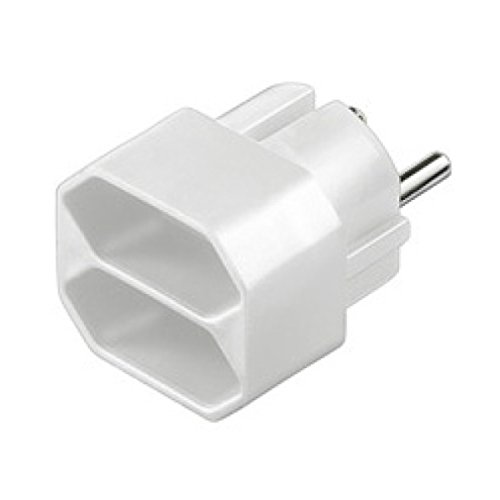 Alcasa CEE 7/4 - 2x CEE 7/16 adaptador de enchufe eléctrico Tipo F Tipo C (Europlug) Blanco - Adaptador para enchufe (Tipo F, Tipo C (Europlug), Blanco, Male connector / Female connector, CE)